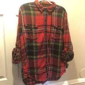 Seven7 Red Plaid Flannel Button Down Shirt XL